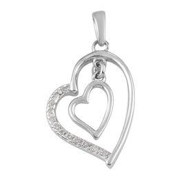 Diamond Heart Pendant in Platinum Overlay Sterling Silver