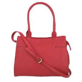100% Genuine Leather Handbag with Adjustable Shoulder Strap and External Zipper Pocket (Size 31.5x10