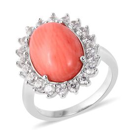 Bamboo Coral (Ovl 14x10 mm), Natural White Cambodian Zircon Ring in Rhodium Overlay Sterling Silver