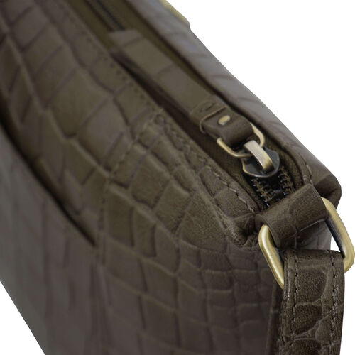Assots London CAROL Croc Embossed Leather Crossbody Bag with Adjustable Shoulder Strap (Size 29x21x9cm) - Olive Green
