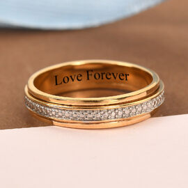 Personalised Engravable Diamond Band Ring in 14K Gold Overlay Sterling Silver