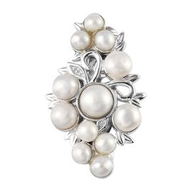 Freshwater Pearl (Rnd) Brooch in Platinum Plated