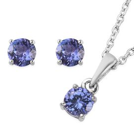 2 Piece Set - Tanzanite Pendant With Chain (Size 18) and Stud Earrings (with Push Back) in Platinum