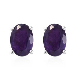 Amethyst (Ovl 7x5 mm) Stud Earrings (with Push Back) in Platinum Overlay Sterling Silver 1.500 Ct.