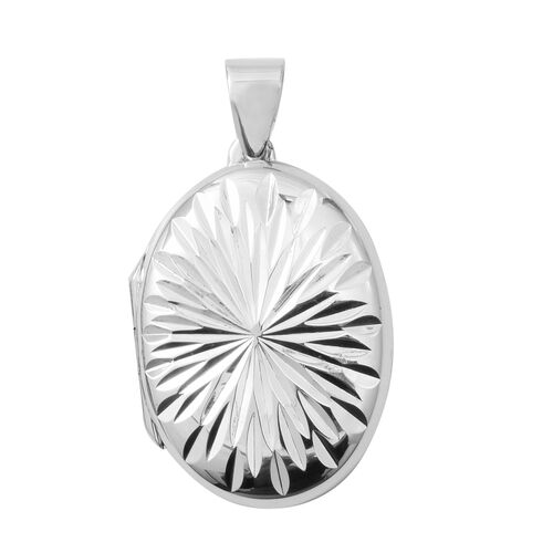 Rhodium Plated Sterling Silver Diamond Cut Oval Locket Pendant.Silver Wt 5.03 Gms