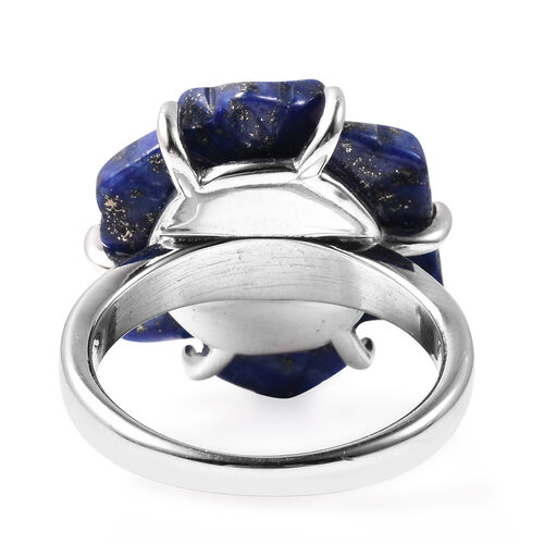 Lapis Lazuli, ,White Austrial Crystal and White Shell Pearl Floral Ring in Stainless Steel