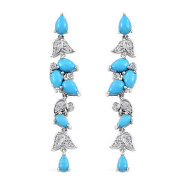 4.5 Ct Arizona Sleeping Beauty Turquoise and Cambodian Zircon Drop Earrings in Platinum Plated Sterl