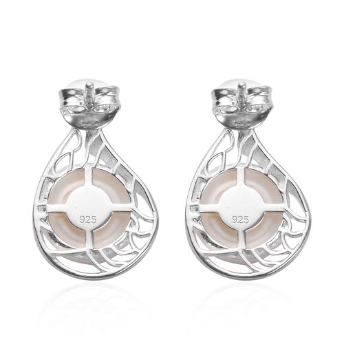 Designer Inspired - Freshwater Pearl Sterling Silver Stud Earrings (with Push Back)