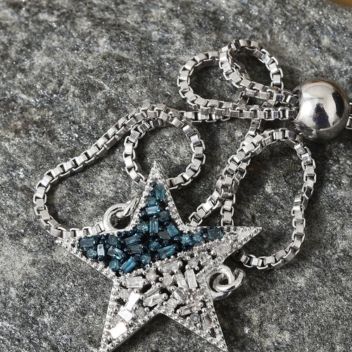 Blue and White Diamond (Rnd) Star Bracelet (Size 6.5 - 9.5 Adjustable) in Platinum Overlay with Blue Plating Sterling Silver  0.250 Ct.