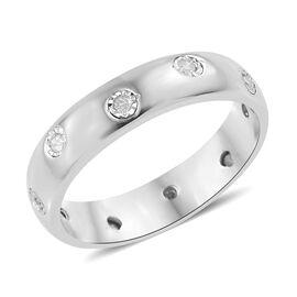 Designer Inspired- Flush Setting Diamond (Rnd) Band Ring in Platinum Overlay Sterling Silver