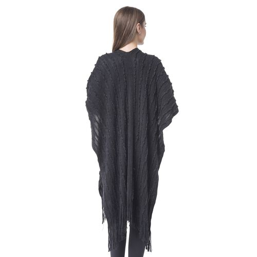 Designer Inspired-Black Colour Stripes Pattern Knitted Long Poncho with Tassels (Size 90X75 Cm)