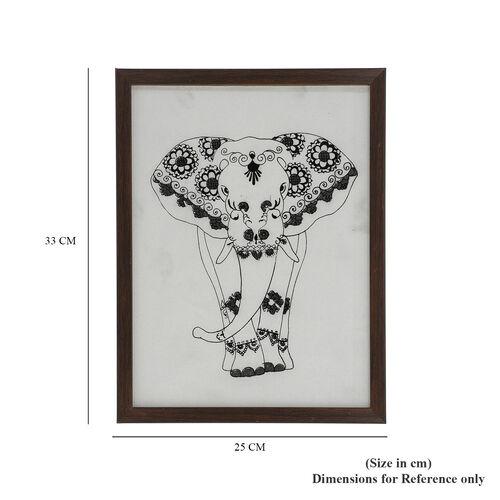 Shungite Handcrafted Elephant Painting (25x33 Cm)