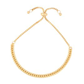 Adjustable Foxtail Chain Bracelet in Gold Plated Sterling Silver 7.21 Grams