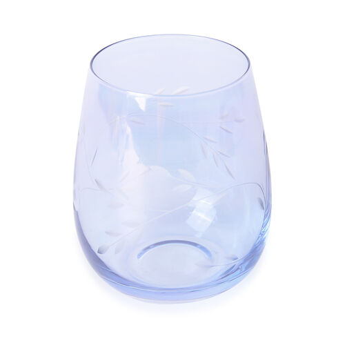 Set of 4 - Tumblers with Carved Leaf Design in Light Blue Colour with Mother of Pearl Effect