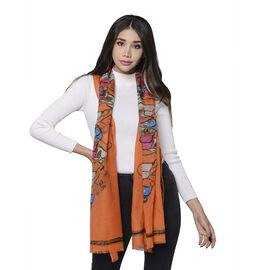 100% Merino Wool Handbag Pattern Scarf (Size 65x180cm) - Orange Colour