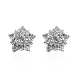 Diamond Cluster Star Stud Earrings in Platinum Plated Silver