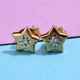 Natural Diamond Star Stud Earrings (with Push Back) in 14K Gold Overlay Sterling Silver