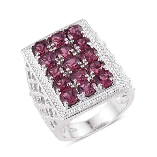 Rhodolite Garnet (Rnd) Ring in Platinum Overlay Sterling Silver 5.250 Ct.