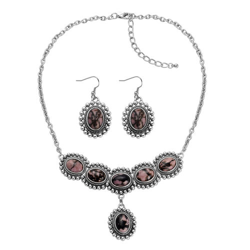 Designer Inspired - Zaire Rhodonite, Unakite Reversible Necklace (Size 18) and Matching Hook Earrings