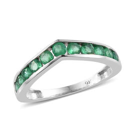 9K White Gold AA Kagem Zambian Emerald (Rnd) Wishbone Ring 0.700 Ct.