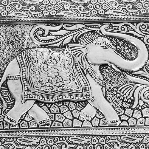 3D Embossed Collection Handcrafted Elephant Design Oxidised Jewellery Box with Drawer Chest (Size 22.8x15.2cm)