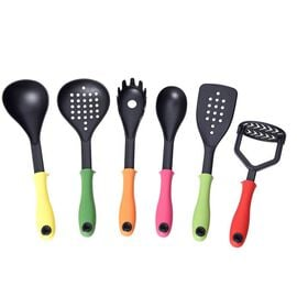 Set of 6 - Kitchen Utensils (Includes Soup Ladle, Skimmer, Slotted Turner, Spoon, Masher & Spaghetti