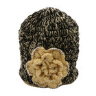 Set of 2 - Black Knit Hat (48x20cm) and Scarf (150x13cm) with Cream Colour Flower Detail