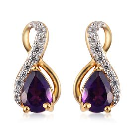 Amethyst, Natural Cambodian Zircon Drop Earrings in 14K Gold Overlay Sterling Silver 1.50 Ct.