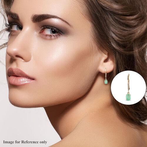 9K Yellow Gold AA Boyaca Colombian Emerald Lever Back Earrings 0.75 Ct.