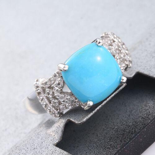 Arizona Sleeping Beauty Turquoise (Cush 4.05 Ct), White Topaz Ring in Platinum Overlay Sterling Silver 4.500 Ct.