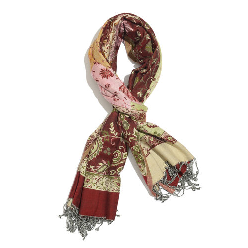 Pink, Green and Multi Colour Floral and Paisley Pattern Red Colour Scarf (Size 200x70 Cm)