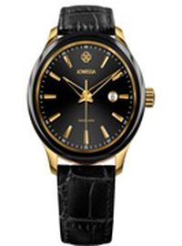 JOWISSA Tiro Swiss Mens 5 ATM Water Resistant Watch with Alligator Print Genuine Leather Strap - Black & Gold