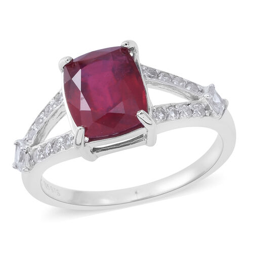 0.50 Carat African Ruby and Natural White Cambodian Zircon Ring in Rhodium Plated Silver