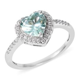 ELANZA Simulated Green Spinel and Simulated Diamond Heart Halo Ring in Rhodium Plated Silver