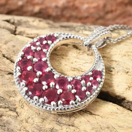 Designer Inspired-African Ruby (Rnd) Circle Pendant With Chain in Platinum Overlay Sterling Silver 3.500 Ct, Silver wt 6.37 Gms.