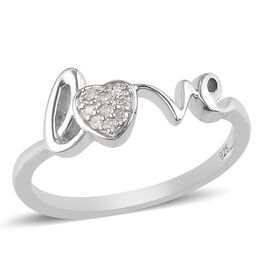 White Diamond LOVE Ring in Platinum Overlay Sterling Silver