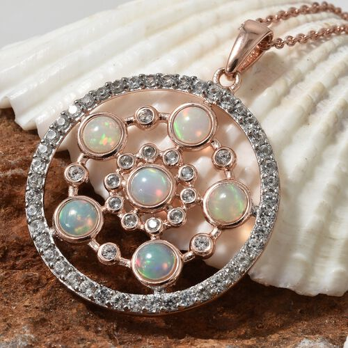 Ethiopian Welo Opal (Rnd 1.35 Ct), Natural White Cambodian Zircon Circle Pendant With Chain (Size 18) in Rose Gold Overlay Sterling Silver 3.000 Ct, Silver wt 6.25 Gms.
