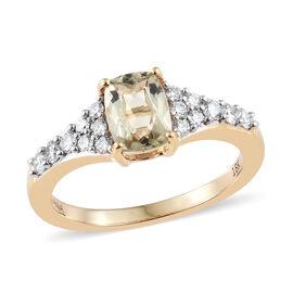 ILIANA 1.30 Ct AAA Turkizite and Diamond Ring in 18K Gold 3.92 Grams
