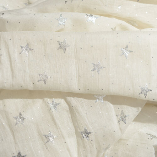 100% Cotton Cream Colour Scarf with Silver Foil Star Print (Size 180x110 Cm)