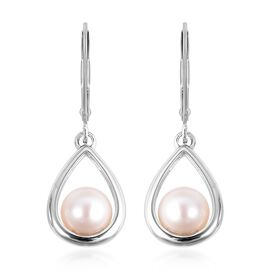 Freshwater Pearl (Rnd) Lever Back Earrings in Rhodium Overlay Sterling Silver