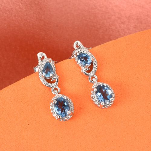Santa Maria Aquamarine Dangle Earrings (with Push Back) in Platinum Overlay Sterling Silver