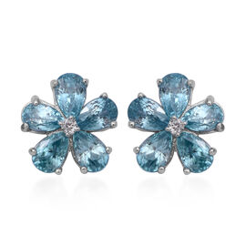Ratnakiri Blue Zircon (Pear), Natural White Cambodian Zircon Floral Stud Earrings (with Push Back) i