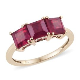 9K Yellow Gold AA African Ruby (Sqr) Trilogy Ring 3.25 Ct.