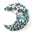 Multicolour Austrian Crystal Crescent Moon Brooch