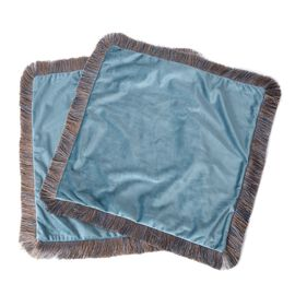 Luxury Edition - Set of 2 Extremely Soft Decorative Cushion Covers with Trimming in Teal Colour (Siz