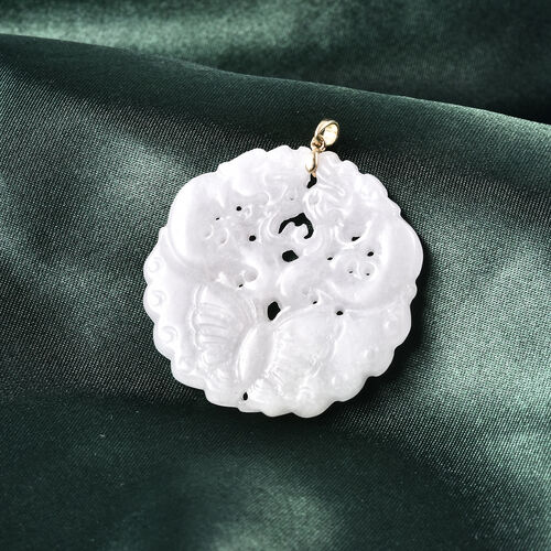 9K Yellow Gold Butterfly Carved Natural Jade Pendant 57.76 Ct.