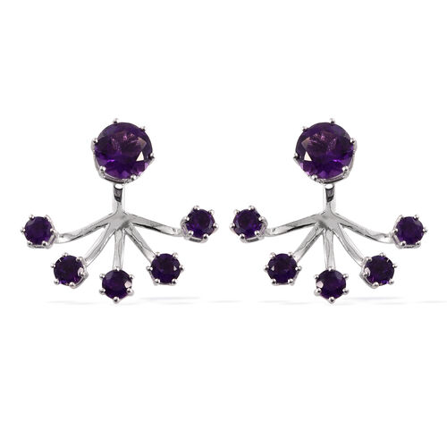 Amethyst (Rnd) Jacket Earrings (with Push Back) in Rhodium Plating Sterling Silver 4.505 Ct. Silver wt 5.56 Gms.