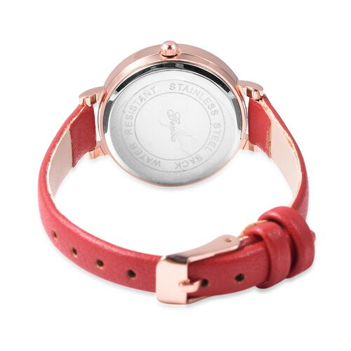 GENOA Japanese Movement Water Resistant Watch with AB Swarovski Crystals in Rose Gold Tone with Red Colour Strap