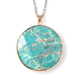 85 Carat Green Imperial Jasper Circle Pendant with Chain 24 Inch