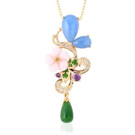 7.92 Ct Blue and Green Jade and Multi Gemstone Floral Pendant With Chain in Gold Plated Silver
